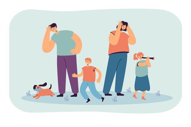 padres-cansados-que-miran-ninos-felices-aislaron-ilustracion-plana_74855-15550