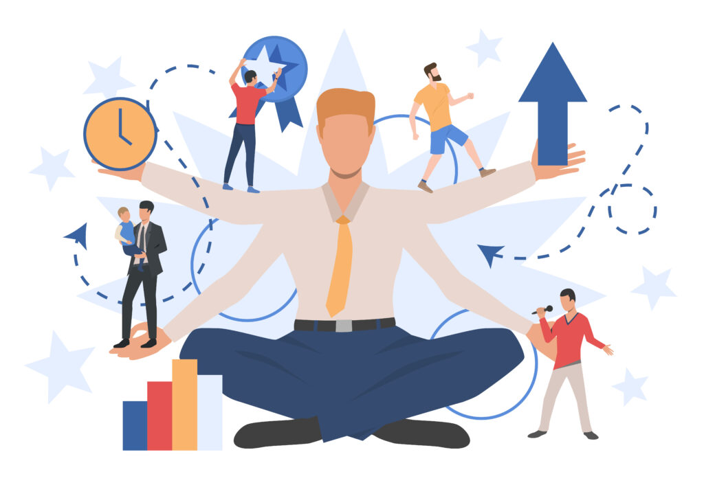 Businessman character showing different social roles. Work, family, leisure. Can be used for topics like activity,  lifestyle, multitasking