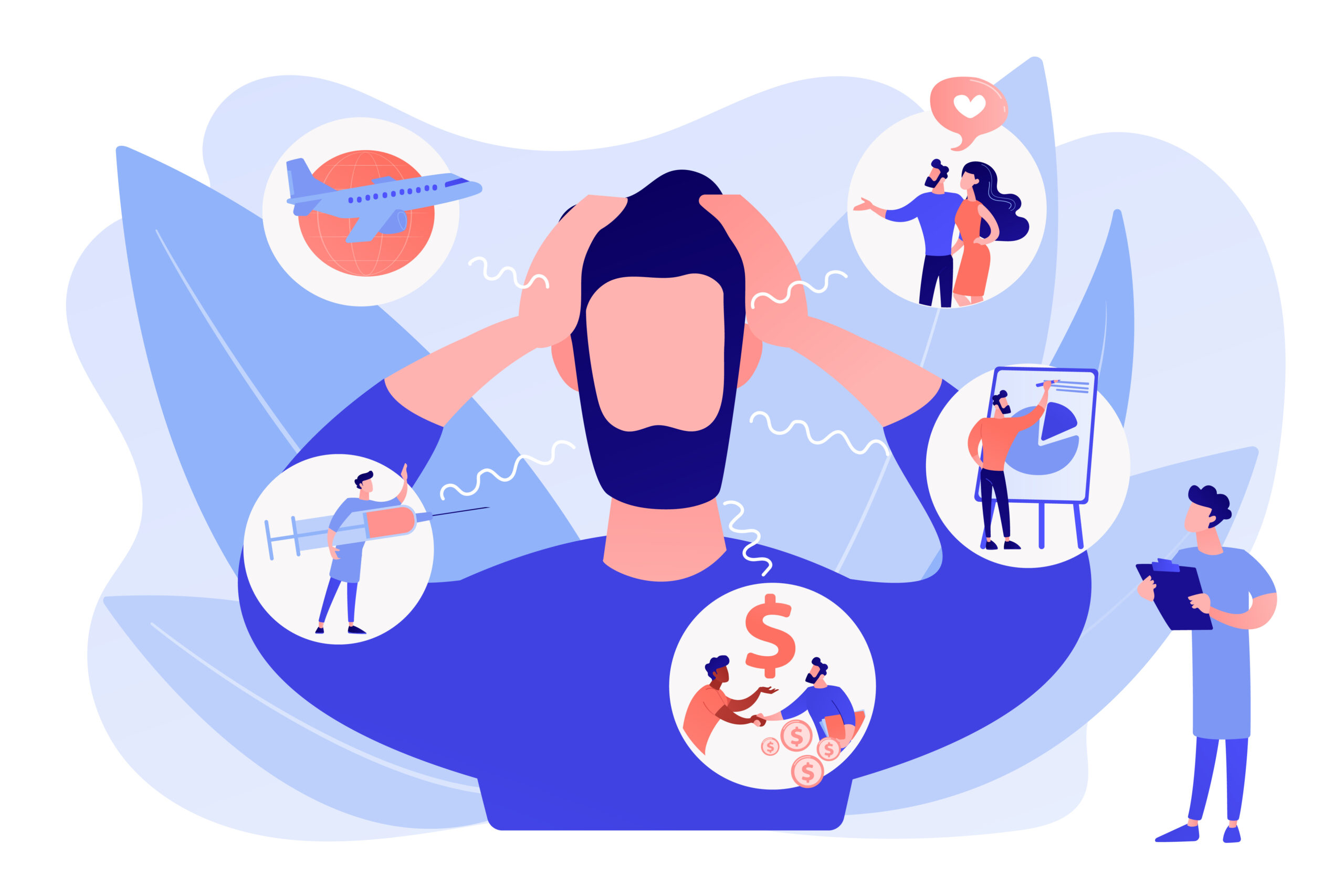 Introversion, agoraphobia, public spaces phobia. Mental illness, stress. Social anxiety disorder, anxiety screening test, anxiety attack concept. Pinkish coral bluevector isolated illustration