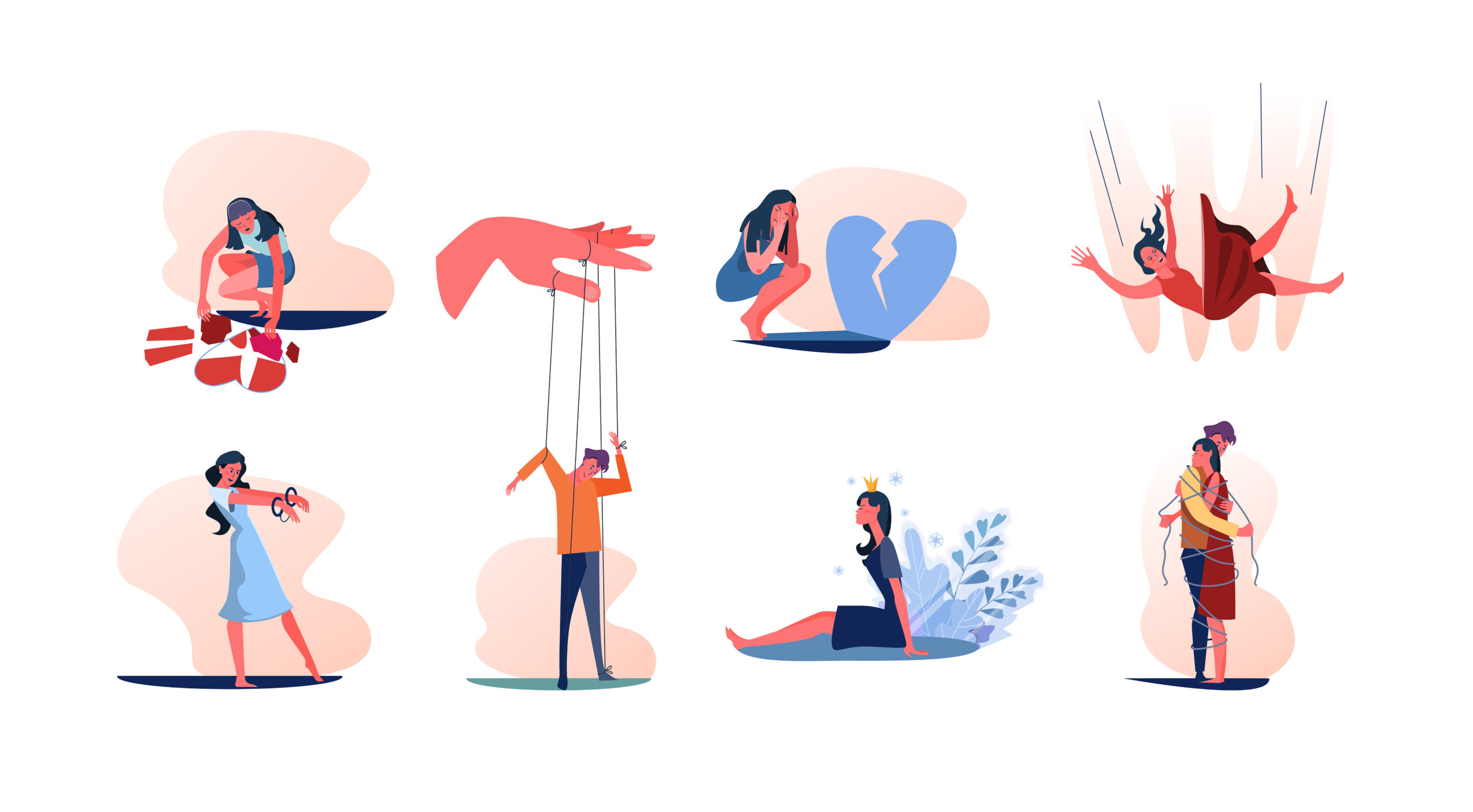 Set of people with mental problems. Women and men suffering from breakup, love addiction, megalomania, psychological manipulation and dependency. Mental disorders metaphors flat vector illustration